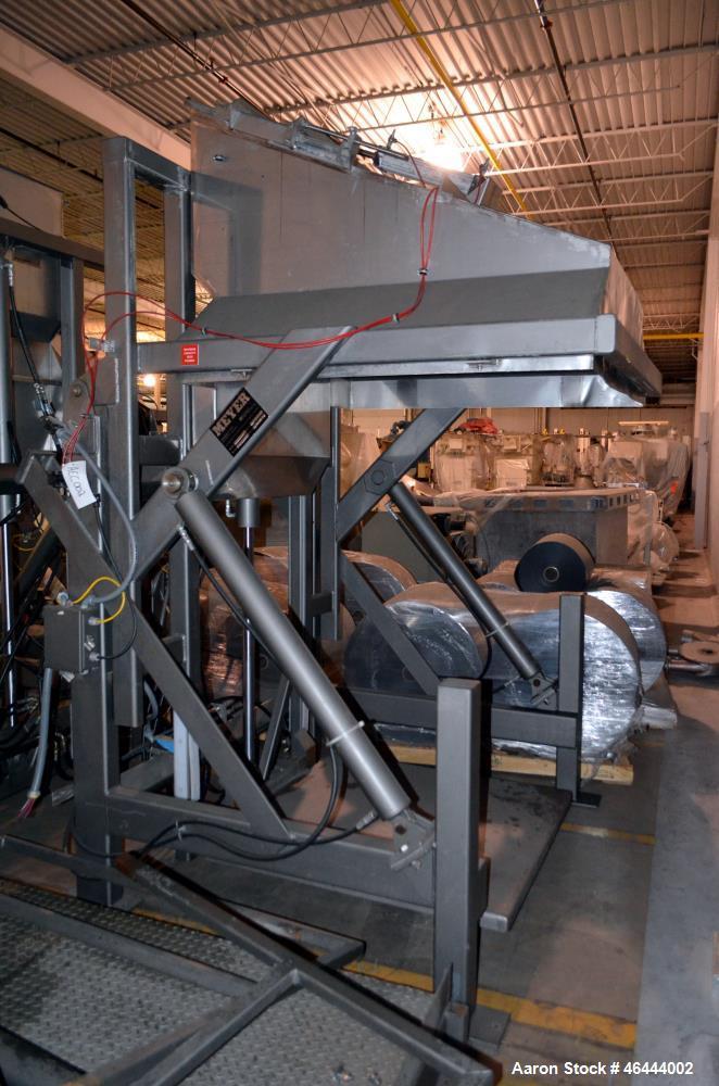 "Used- Meyer Machine Box Unloader, Model HBU-1500-SH, Carbon Steel Frame. 1500 Pound capacity. Approximate 44"" x 44"" bottom b..."