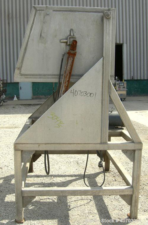 """Used- Box Dumper, 304 Stainless Steel. Dump area 54 1/2"""" wide x 39"""" deep x 28"""" high. Dual ram, hydraulically driven by a 2 h..."""