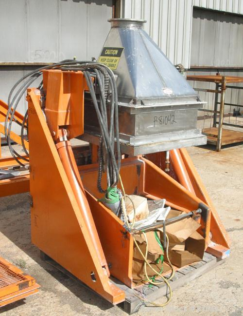 """USED: Tubar tote dumper, model TDHD. Approximately 28"""" wide x 28"""" long x 39"""" high totes x 3000 pound capacity. Top feed/disc..."""