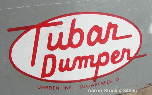 """USED: Uhrden Tubar barrel dumper model. Approx 18"""" diameter x 36"""" high containers, approx 30"""" discharge height, single ram, ..."""