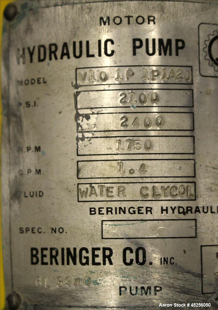 Used- Beringer Hydraulic Pump, Model V101P1P1A20. 3hp, 3/60/230/460 volt, 1750 rpm motor. Serial# 4510432.