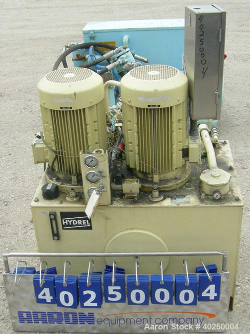 Used- Hydrel Hydraulic Drive Unit, type BY-21-145, consisting of (2) 15 kW, 3/60/460 volt, 1770 rpm motors. Rated 15 kW, 140...