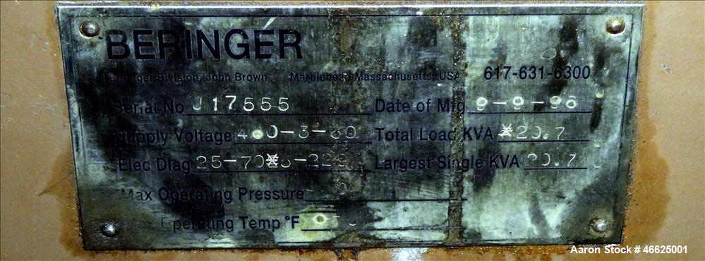 """Used- Beringer Jet Cleaner Oven, Model 1724, Carbon Steel. Approximate 17"""" Diameter x 24"""" Long Horizontal Chamber. Roll out ..."""