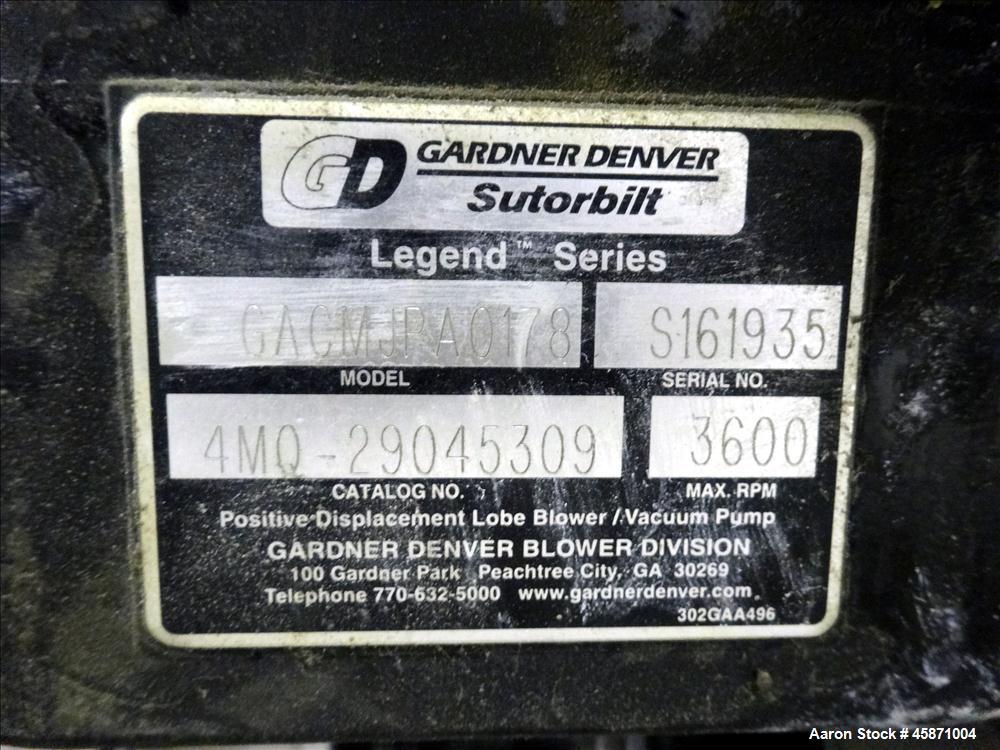 Used- Conair Vacuum Loading System Consisting Of: (1) Gardner Denver 4MQ Positive Displacement Blower, Model GACMJNA0178, Se...