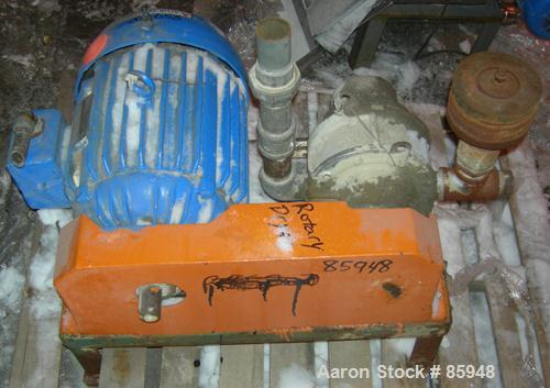 Used- Fuller High Pressure Vertical Rotary Positive Displacement Blower, Model 4HVF, carbon steel. Approximate capacity 80 c...
