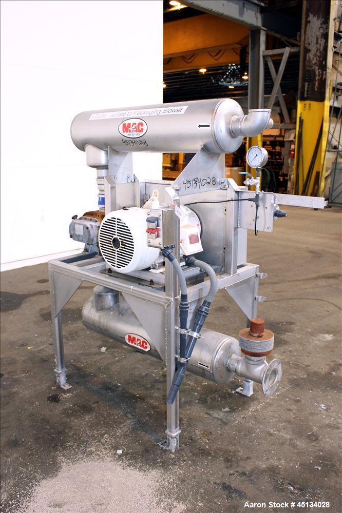 Used- MAC Equipment Vacuum Loading System Consisting Of: (1) Sutorbilt Legend Series Medium Pressure Horizontal Rotary Posit...