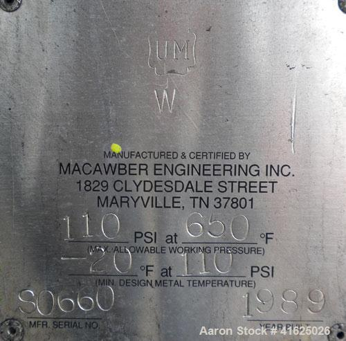"Used- Macawber Denseveyor, Model 3/8, carbon steel. 6"" straight side x 17"" long cone. 8"" top with loading valve, bottom disc..."