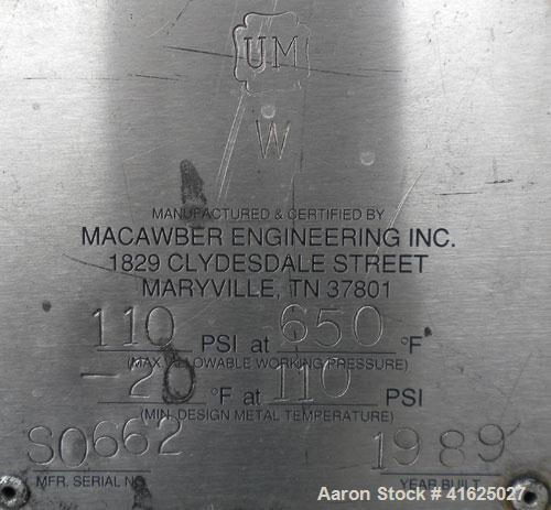 """Used- Macawber Denseveyor, Model 3/8, carbon steel. 6"""" straight side x 17"""" long cone. 8"""" top with loading valve, bottom disc..."""