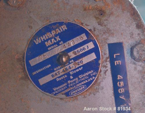 """USED: Roots Whispair horizontal blower, model 2506J. Approximately 75 cfm, 3600 rpm. 3-1/2"""" inlet/outlet. Driven by a 5 hp, ..."""