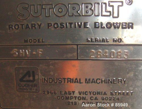 Used- Sutorbilt High Pressure Vertical Rotary Positive Displacement Blower, Model 5HVF, carbon steel. Approximate capacity 1...