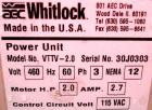 Used- AEC Whitlock Vacuum Power Unit, Model VTTV-2.0. (1) Regenerative blower with filter. Driven by a 2 hp, 3/60/460 volt m...