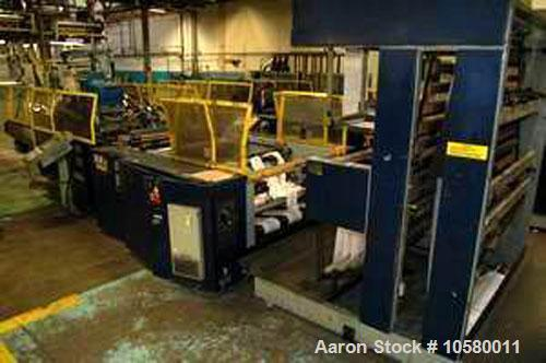 "Used-1100mm Elba SA9011HS Poly Bag Machine. Mfg 1999. 45"" wide, 2-3 lane, hydraulic unwind stand, edge guide, slitting stand..."