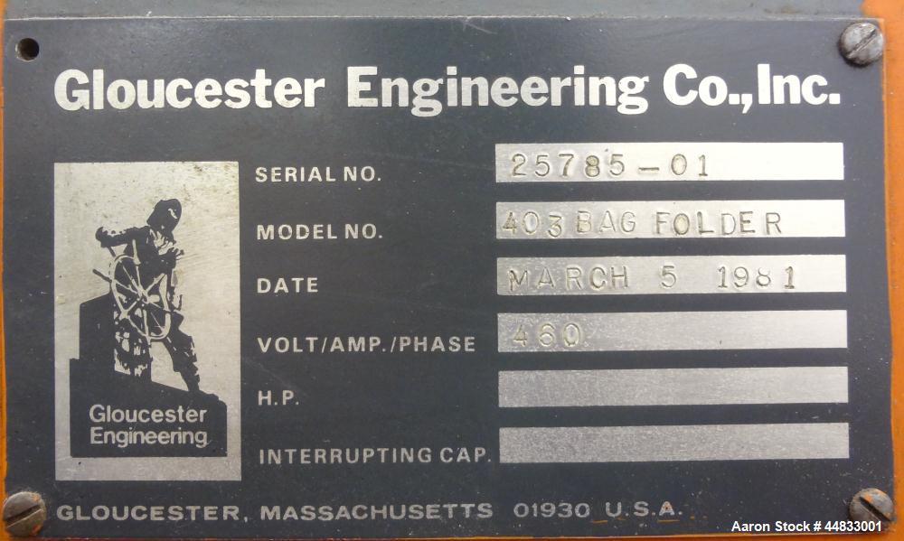 Used- Gloucester Model 403 Bag Folder