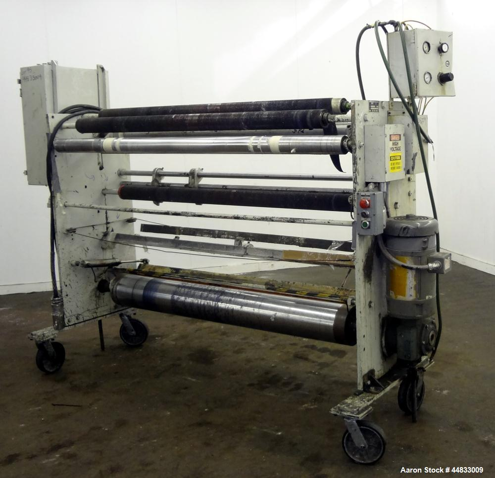 """Used- Sano 64"""" Wide Secondary Nip Roll Assembly, Model L.N.-64-270-3HP-STD, Serial# 12-1583-67, Built 1989. Driven by a 3hp,..."""