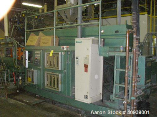 "Used- Uniloy Model 350R3 6 Head Blow Molder, new 1988. 6 heads are set on 8"" centers, has Maaco 8000 programmable control an..."
