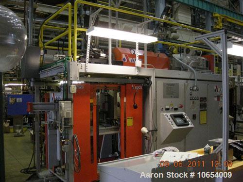 "Used-APV Blow Molding Machine, Model LS2.  2.5 lb, single accumulator head, 2.5"", 24:1 extruder, Maco 8000 controls, 20"" x 2..."