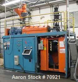 "USED: APV model LS3 single head, 3 lb shot capacity, blow molding machine. Parison diameter is 1"". Platen width is 20"". 8"" m..."