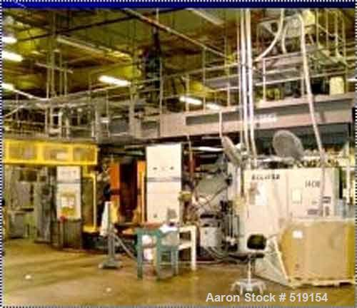 "USED: Cincinnati blow molding machine, 35# single head. 82"" x 56""usable platen. Minimum platen opening 15.7"", maximum 74.8""...."