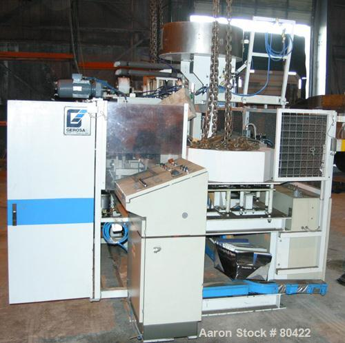 Used: Gerosa 3 re-heat and stretch blow molding machine. Capable of running .250 to 1.50 liter containers with throughputs u...