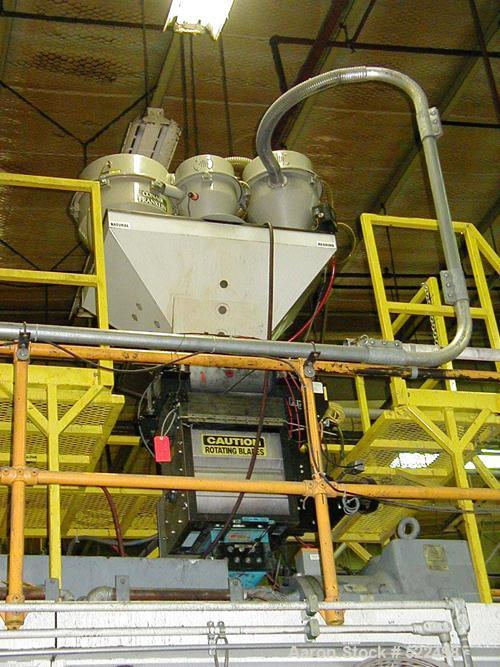"USED: Battenfeld-Hartig model BH717 with twin 15 lb head. Usable platen measures 72"" x 60"", 300 ton capacity, platen 18"" min..."