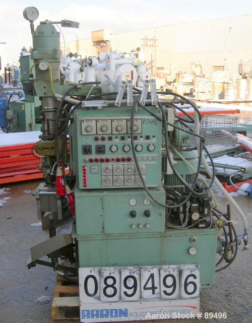 USED: Hesta blow molding machine, model B33. Approximate 33 mm screwdiameter, approximate clamp 180 mm x 225 mm, approximate...