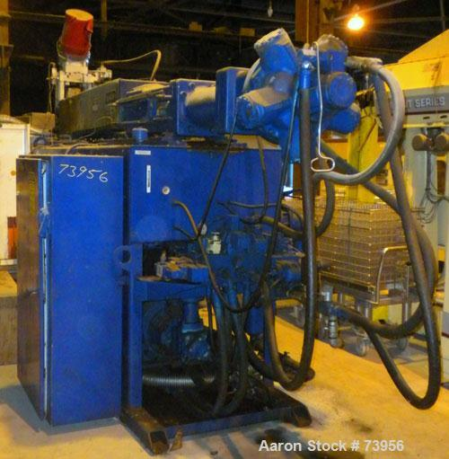 """USED: Impco blow molding machine, model B30-R180-DDH. 5 pound total shot. Can be either a double head on 15"""" centers, or a s..."""