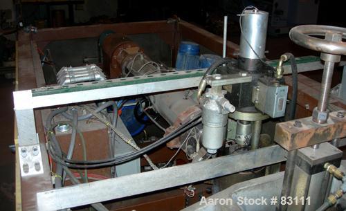 Used- Techne Automazione Minghetti Extrusion Blow Molder. Single head/single parison. Top blow station, shuttle clamp, elect...