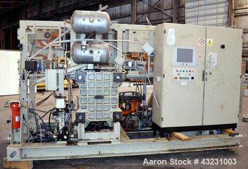 Used- Uniloy Milacron Alkam Stretch Blow Molding Machine, Model BM-5. (5) Blow cavities/mould, 105mm distance between caviti...