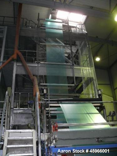 Used- Battenfeld Co-extrusion 3-layer Blown Film Line, Model BFA PE. Ca. 661 lbs/h (300 kg/h) throughput. Consisting of: (1)...