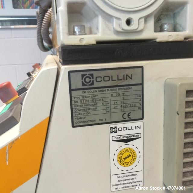 Used-Dr. Colling lab size blown film line consisting of: (1) Dr. Collin lab size twin screw extruder, type Teach line E20T, ...