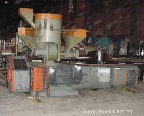 "USED: Gloucester blown film extrusion line. 6"" Gloucester air cooled extruder, 24:1 L/D ratio hopper, model 276001, 400 hp m..."