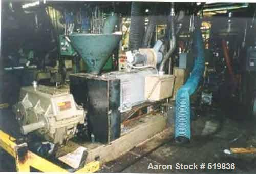 """USED: Dual lane blown film extrusion line for the manufacture oftrash bags. Line includes the following: 4.5"""" Egan low boy e..."""