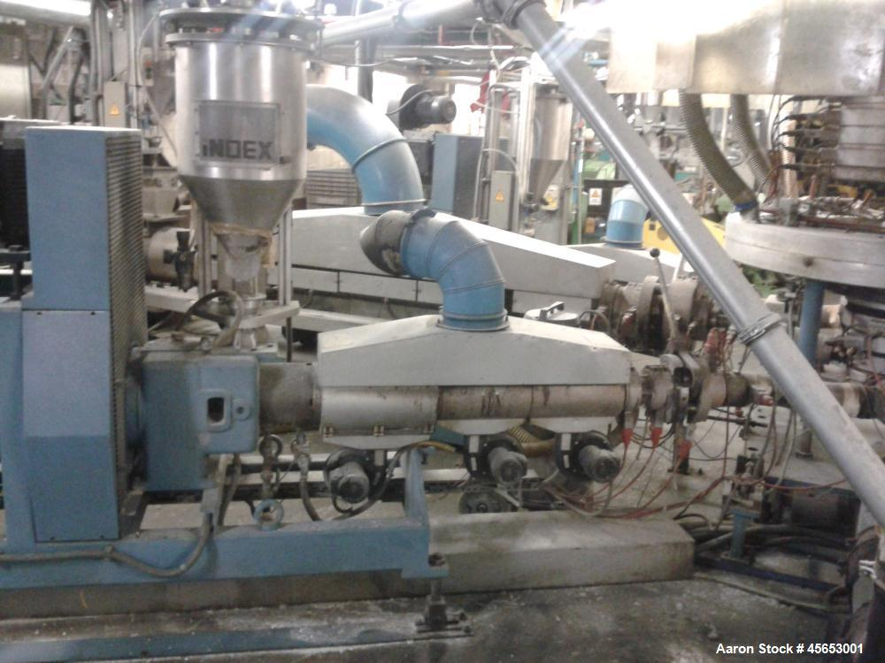 Used- Reifenhauser 3 Layer Co-Extrusion Line. Material LDPA / LLDP. Capacity lbs/hour (350 kg/h). Consisting of: (1) Extrude...