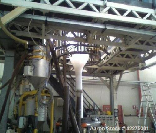 Used-Tiquattro 3 Layer Co-Extrusion Plant for HDPE production. Output 441 lbs/hour (200 kg/g), with gravimetrical dosing uni...
