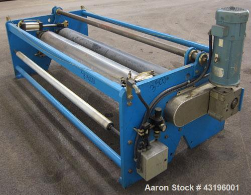"Used- Nip Roll Assembly Consisting Of: (1) 10"" Diameter x 84"" long stationary metal roll, driven by a 3hp, 180 volt, 1750 rp..."