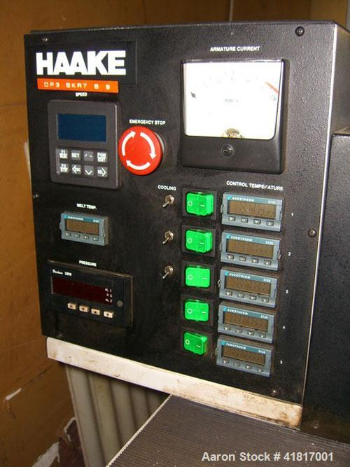 "Used- Haake Rheomex Lab Cast Film Line with OCS film analyzer. (1) 3/4"" Haake lab extruder, 24:1 L/D ratio, model 27-13-100...."