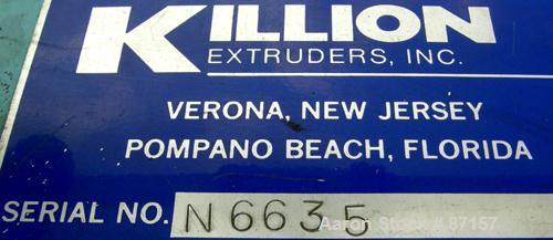 "USED- Killion 12"" Wide Cast Film Take Off. (1) 8"" diameter x 12"" wide chrome plated cored roll. (2) 5"" diameter x 12"" wide p..."