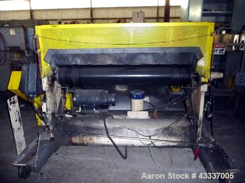 "Used- NRM Rubber Pull Roll Assembly. (2) 52"" Wide x 8"" diameter rubber rolls. Bottom roll driven by an approximate 3 hp DC m..."