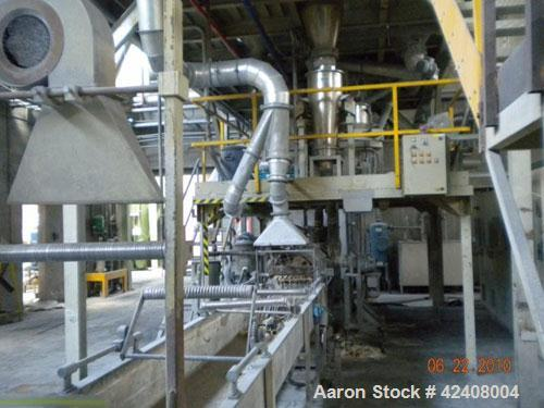 """Used-Comacplast Compounding Line. 2.76"""" (70 mm) twin screw extruder, L/D 42, screw speed 350 rpm, (2) side feeders, (10) the..."""