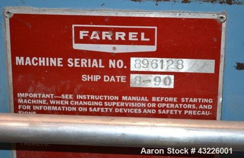 Used- Compounding Line Consisting Of: (1) Farrel size 4LMSD Continuous Mixer. Modified top feed, side discharge. Oil heated,...