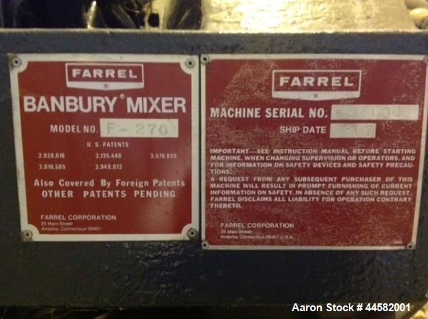 Unused- Farrel Model F270 Banbury Internal Rotor Mixer Body, 246 liter chamber volume with FA #13B working surface material,...