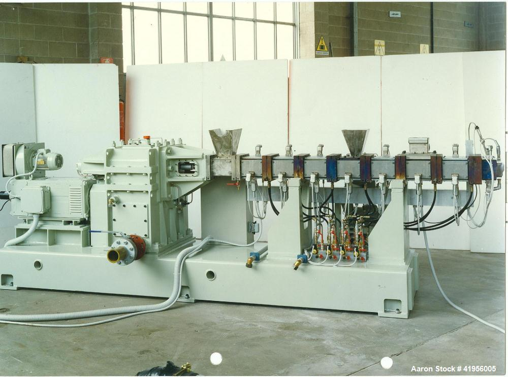 "Used-Compounding Plant consisting of:  (1) Trimec CTS 62/36 co-rotating twin screw extruder, 2.44"" (62 mm) and length 36D.  ..."