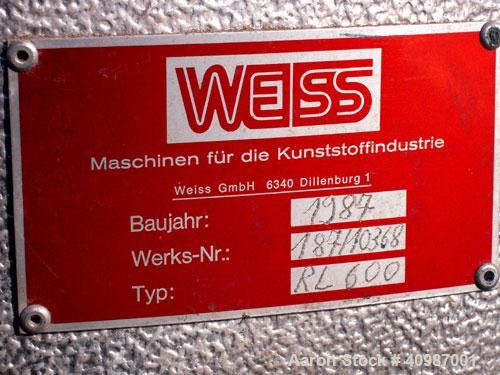 Used- Weiss Densifier, model RL600, carbon steel. Approximately 600 liter capacity. Oval shaped bowl 26'' x 50'' x 43'' deep...