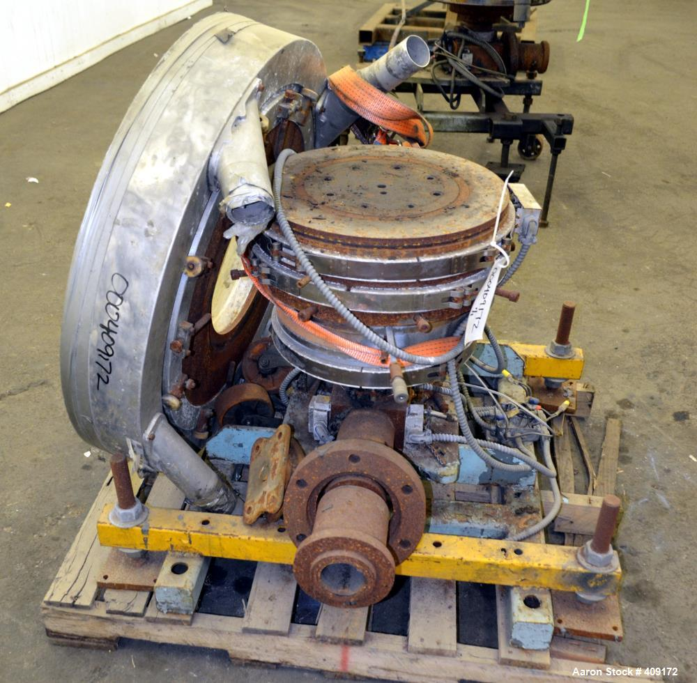 """Used- Gloucester Engineering Blown Film Die, Approximate 11"""" diameter. Includes an air ring, and cart."""