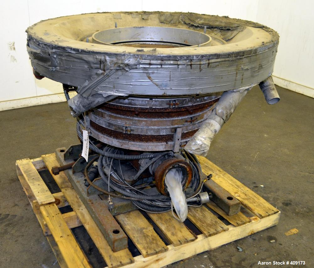 """Used- Gloucester Engineering Blown Film Die, Approximate 20"""" diameter. Includes an air ring, and cart."""
