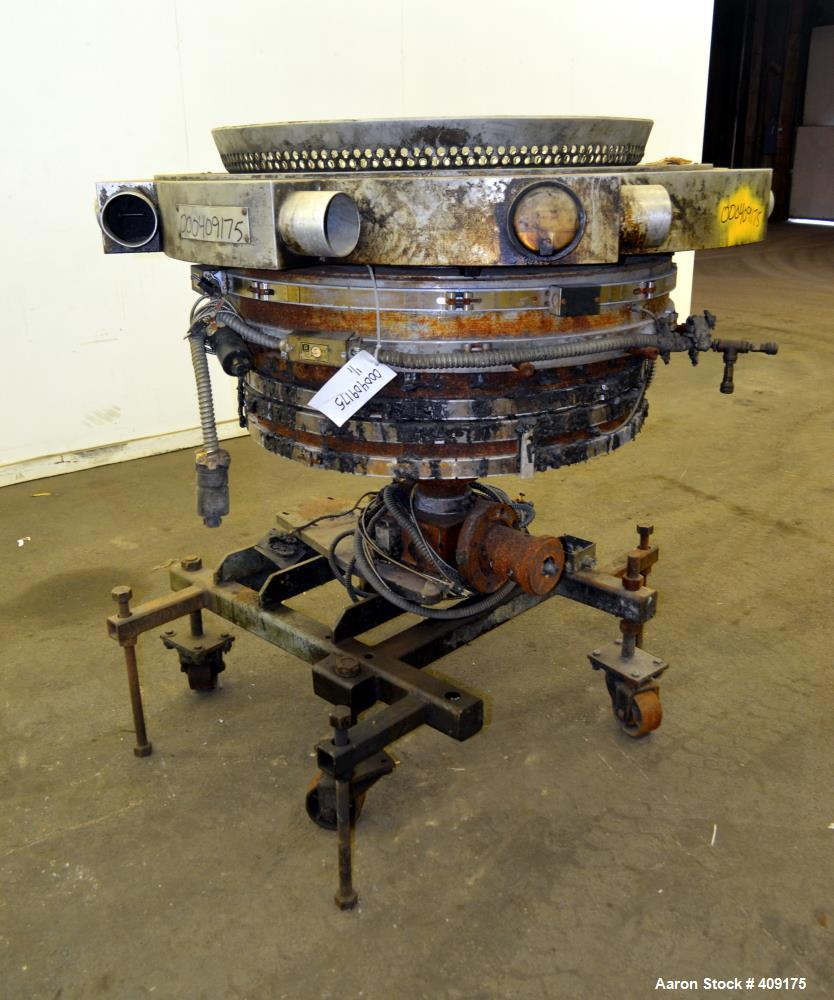 "Used- Gloucester Engineering Blown Film Die, Approximate 28"" diameter. Includes an air ring, and cart."