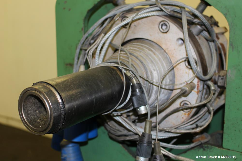 """Used- Plastic Pipe Die. Approximate 2"""" diameter. Includes heaters, and stand. No manufacturers tag."""