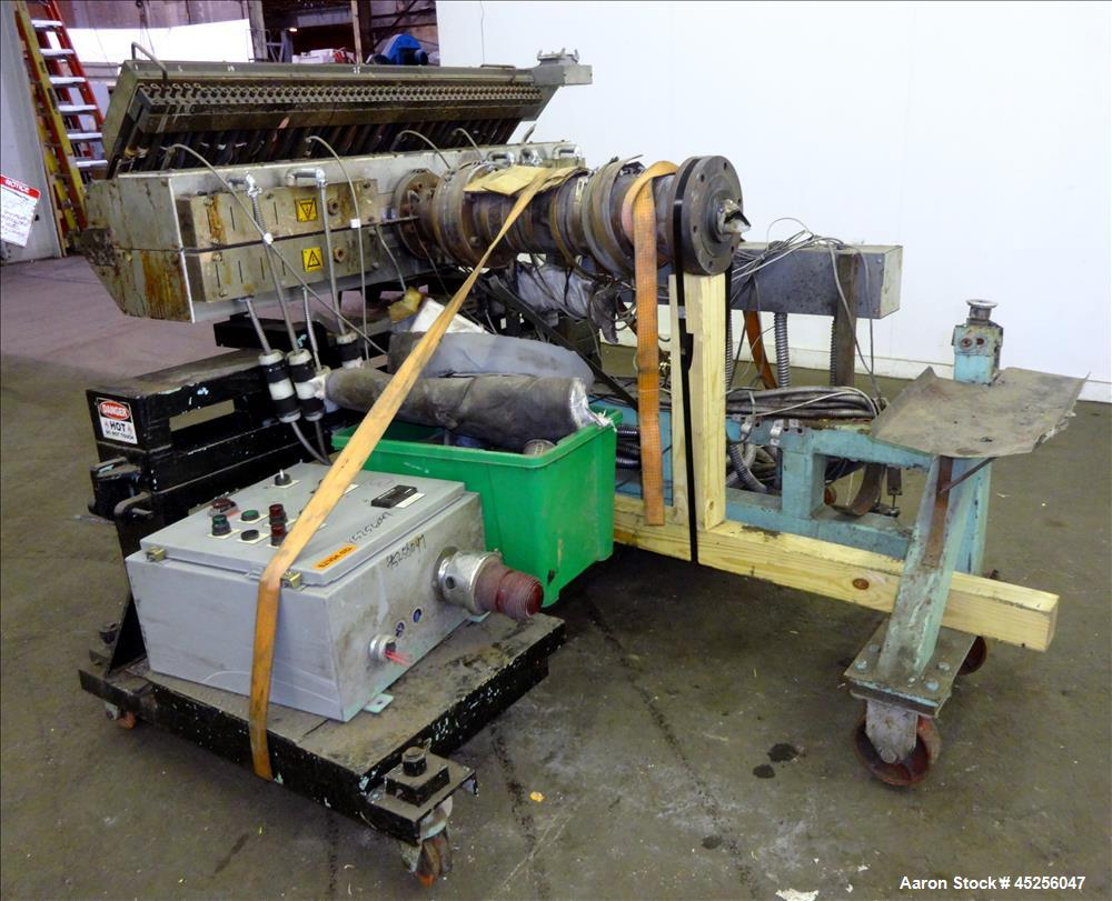 "Used- Cloeren 54"" wide sheet die, back center feed, serial# 05-7969-7, built 2004, mounted on a cart"