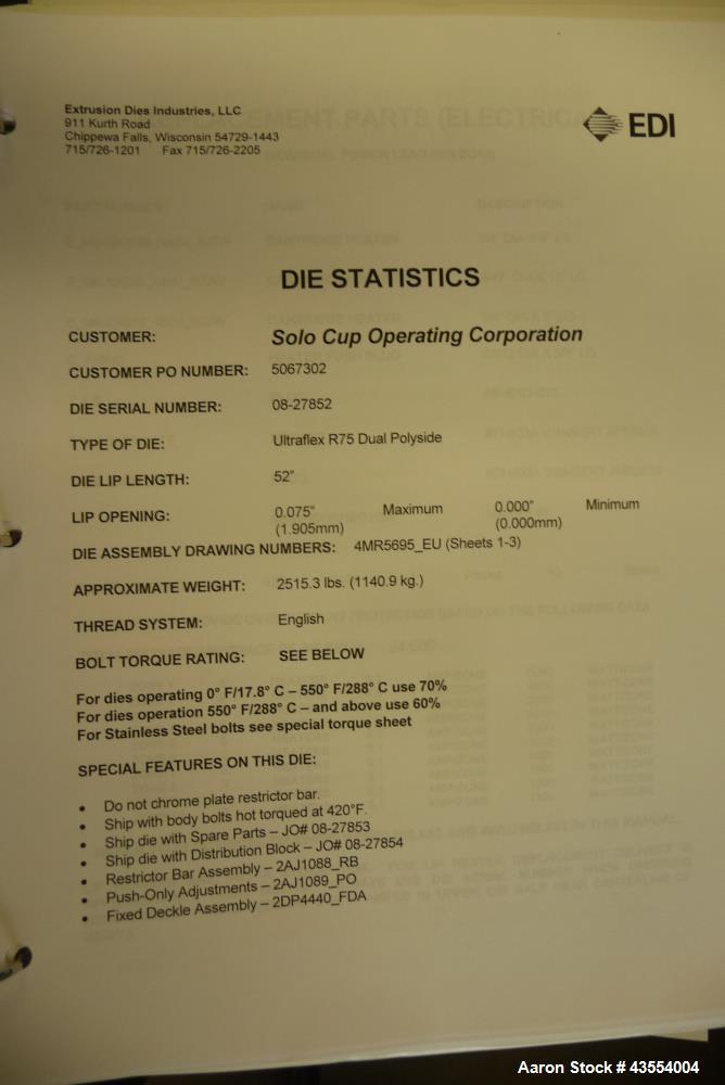 """Unused- 52"""" EDI Dual Entry Sheet Die, Model 52U/F R75"""