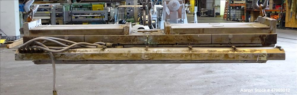 """Used- EDI Extrusion Dies 86"""" Wide Autoflex H40C Sheet Die. Approximately 4"""" wide x 3/4"""" tall back center feed. Lip opening 0..."""
